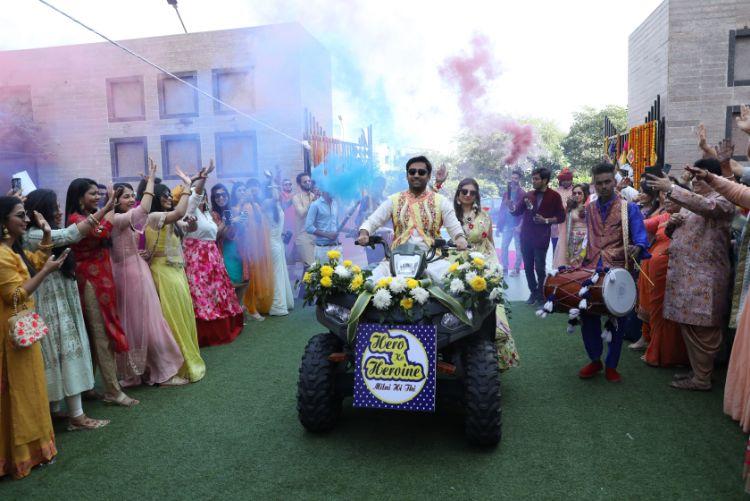couple entry , Indian Weddingjaipur wedidng   mehendi outfit   couple entry
