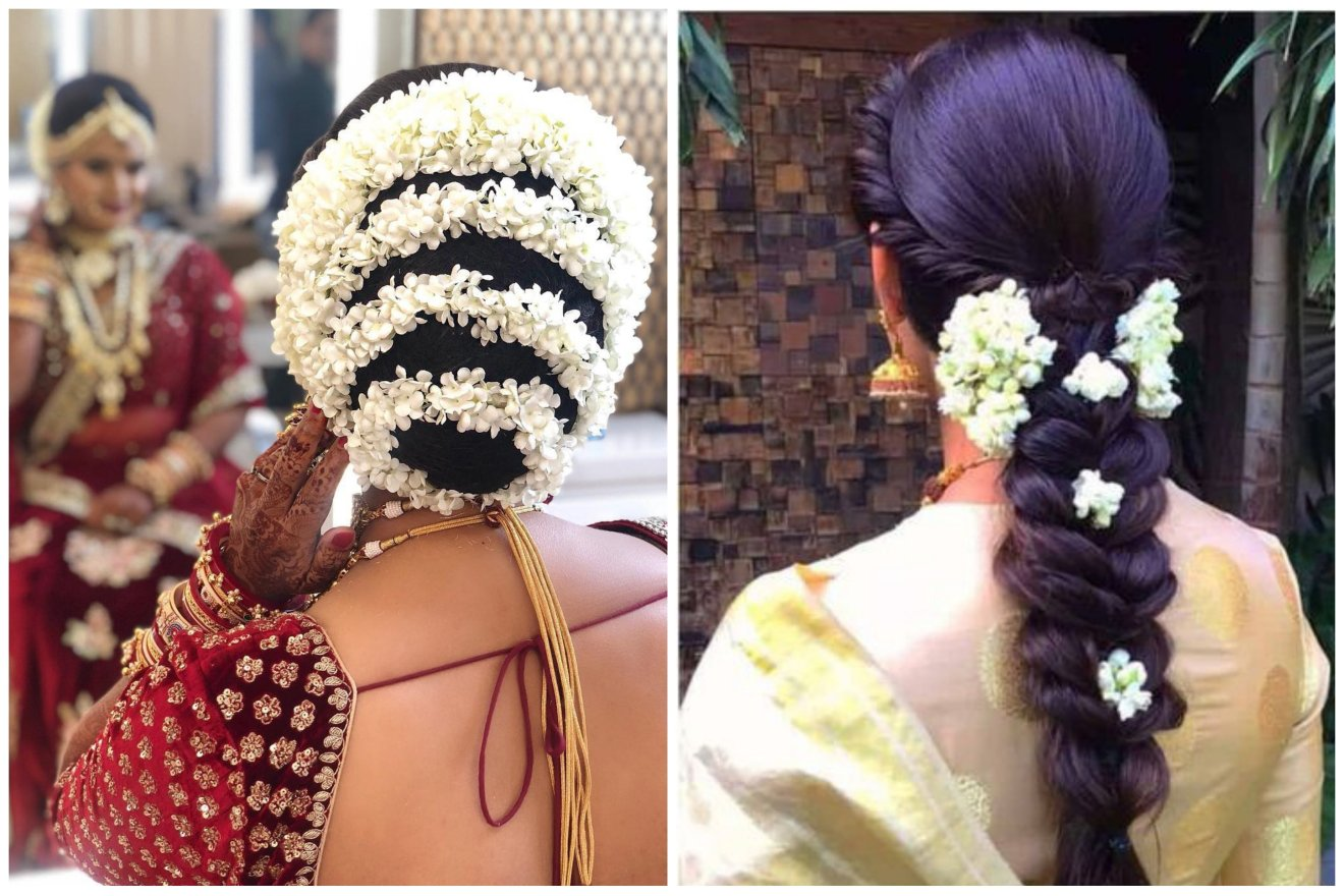 trending hairstyles with gajras   bridal trends