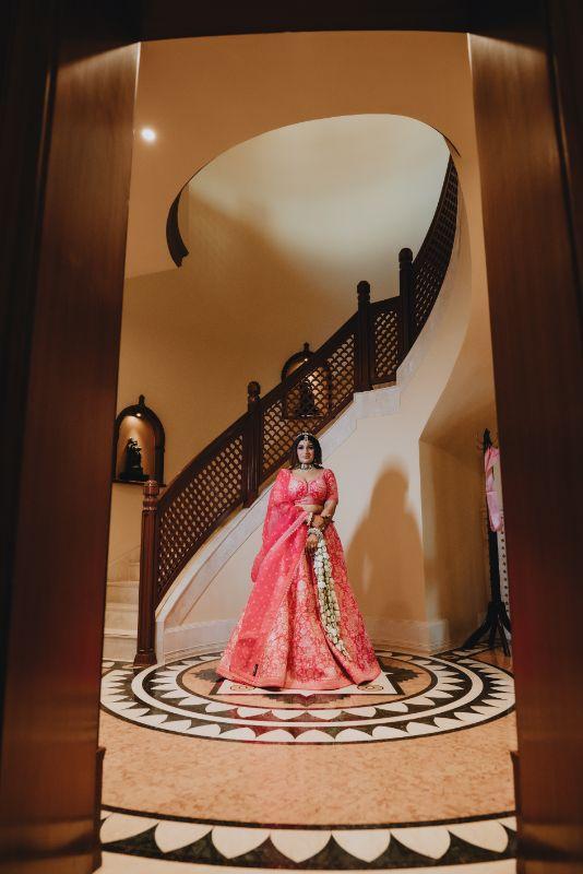 indian bridal lehenga , bridal jewllerey , Rimple & Harpreet Sharara   Pink Sabyasachi Lehenga   Delhi Wedding