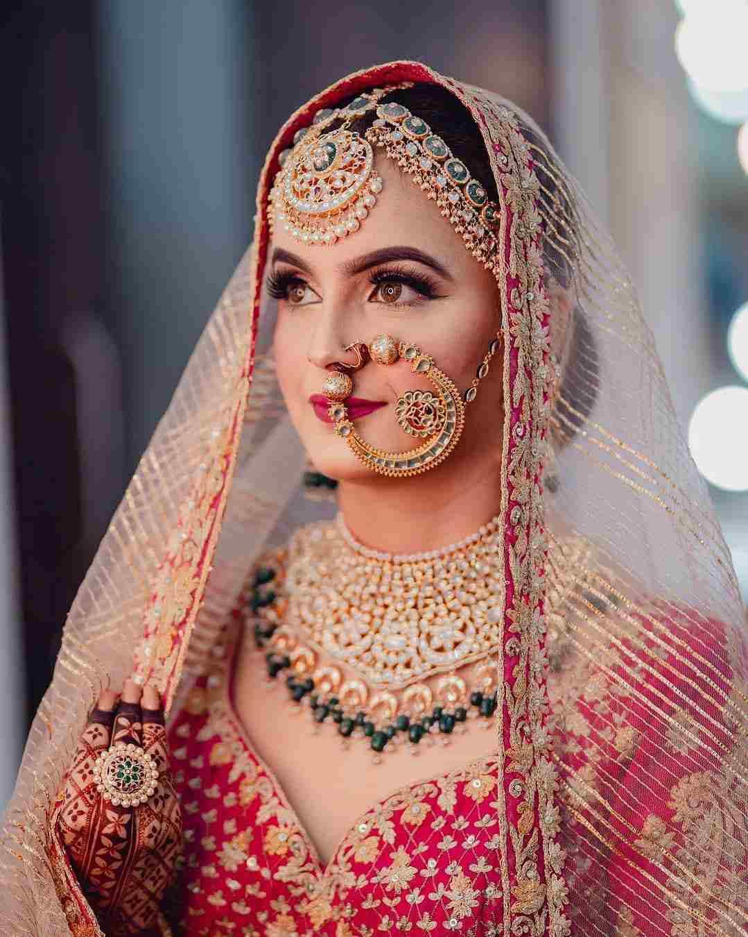 Bridal portrait | Bridal jewellery | Bridal jewelry | Nath | Naath | Bridal look