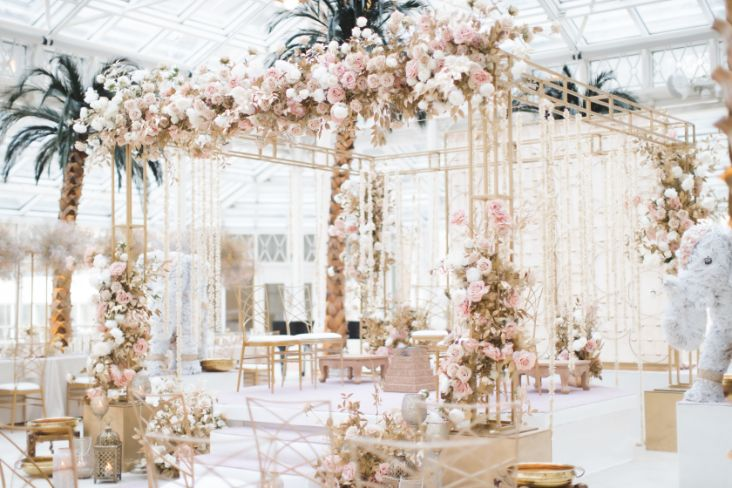 decor ideas , indian wedding , indian bridal lehenga , pastel wedding | wedding in UK | pink lehenga | flower decor