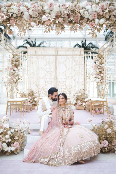 indian wedding , indian bridal lehenga , pastel wedding | wedding in UK | pink lehenga | flower decor