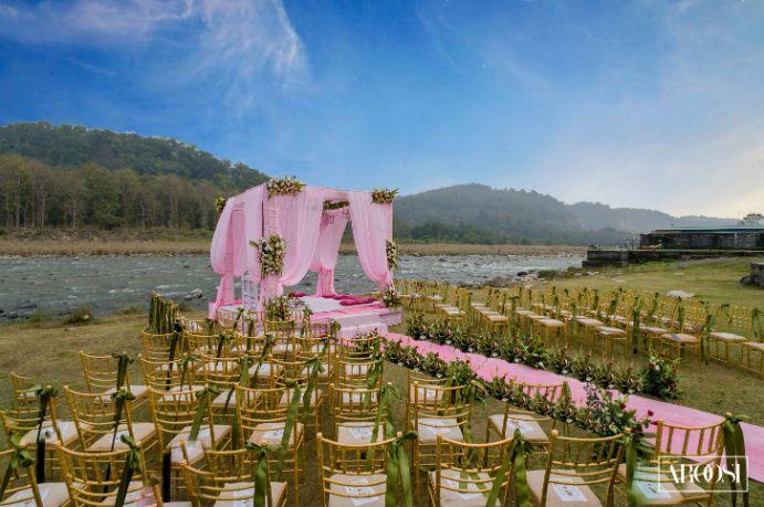 Riverside wedding |Flower Mandap | mehendi decor ideas