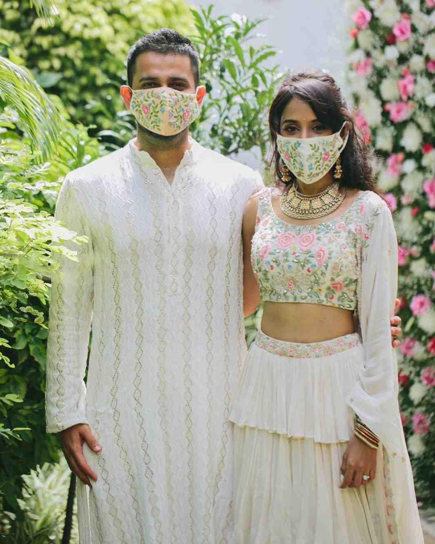couple portrait   wedding masks