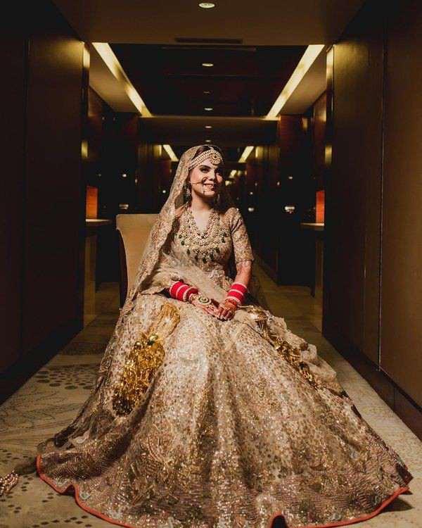 metallic lehengas | golden lehengas | bridal lehengas