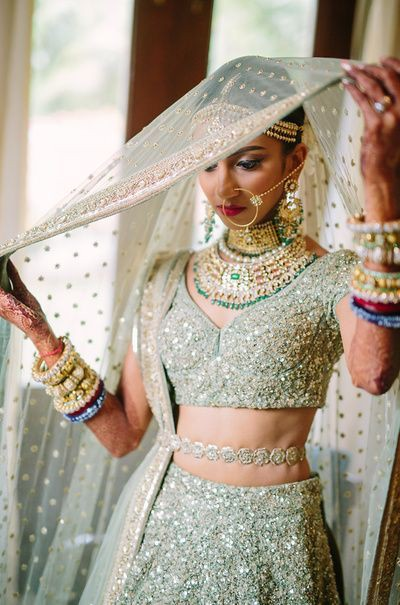 bridal pastel lehengas | bridal portrait | bridal veil
