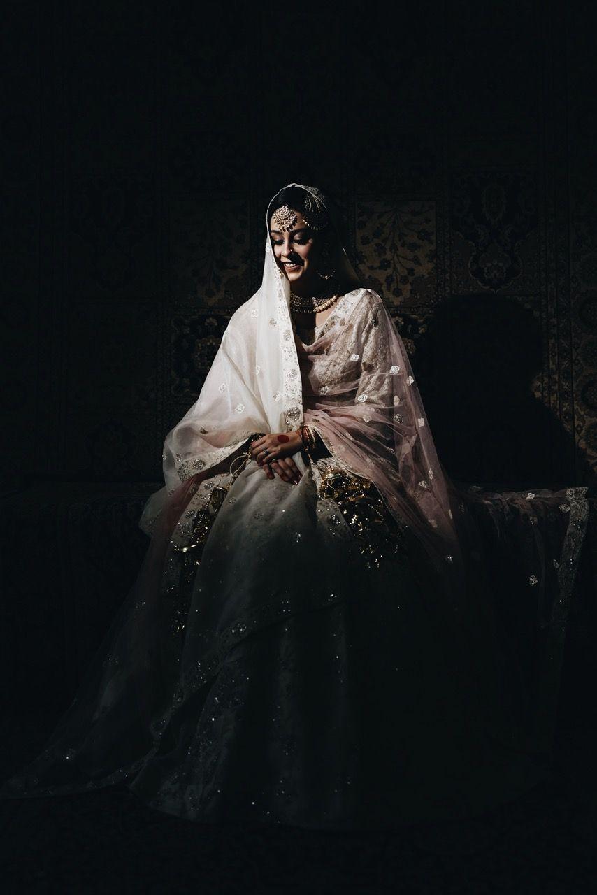 real indian bride , sikh bride , pastel lehenga , Anandkaraj look | ivory bridal lehenga