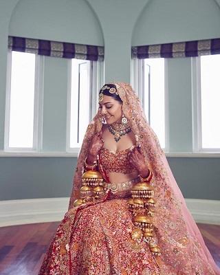 Red bridal lehenga | Customized kalire