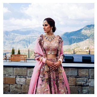 Anamika Khanna Bridal lehenga in pastel pink