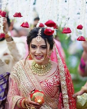 Bridal entry under phoolon ki chadar