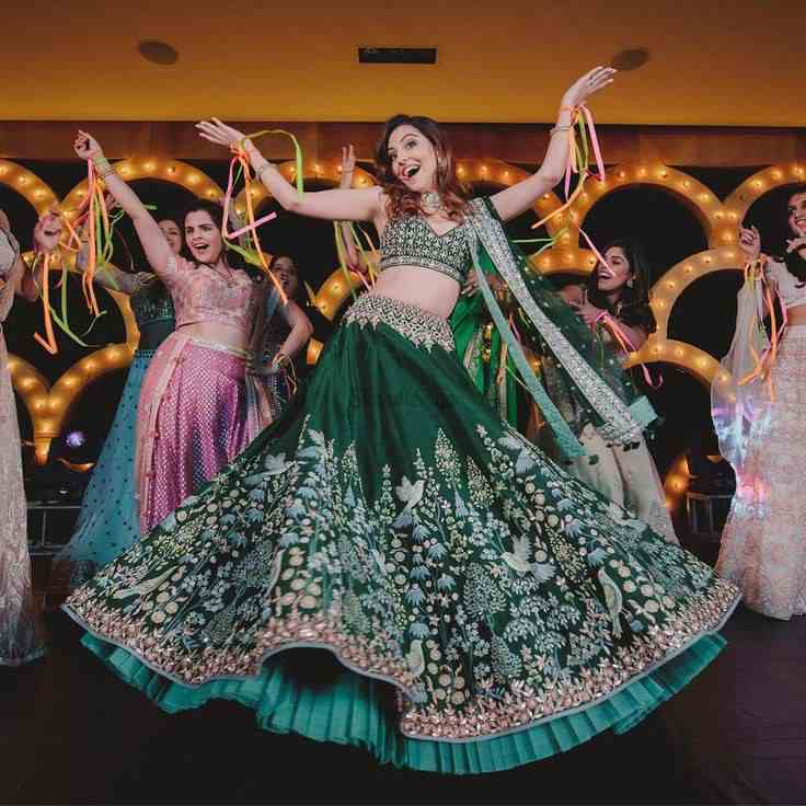 green lehenga | bridal dance