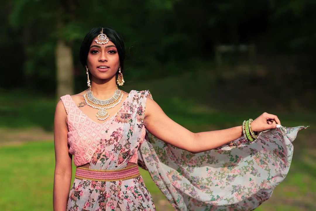 bridal floral printed sarees