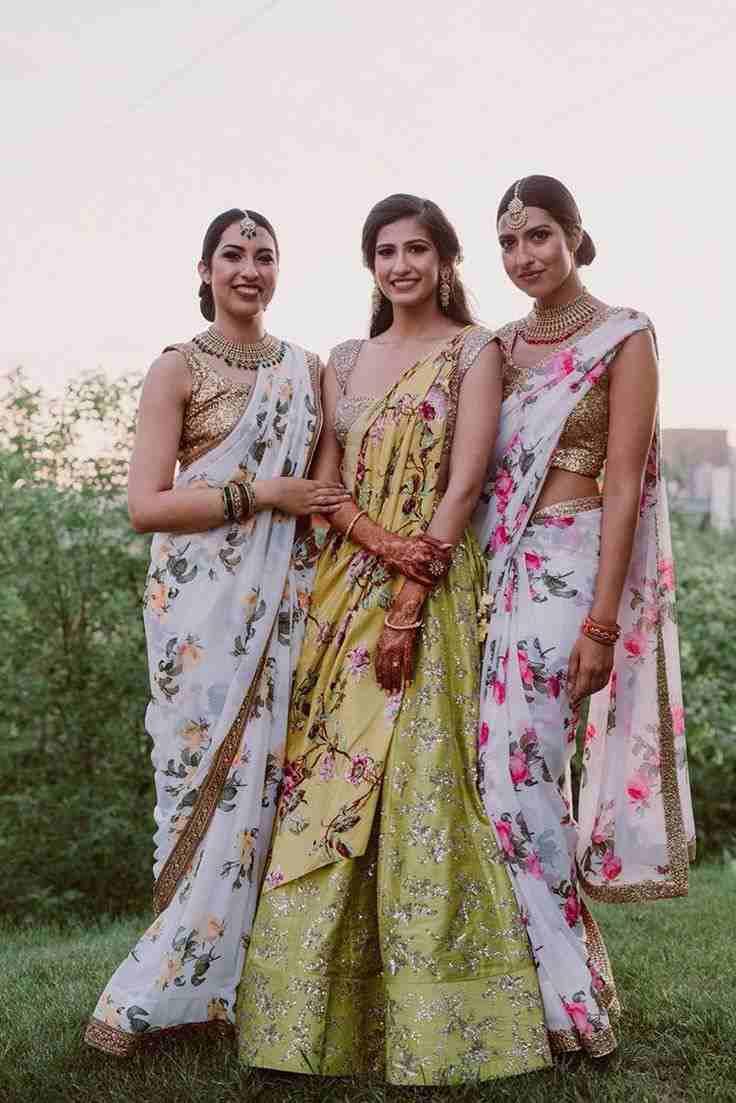 bridesmaids | floral printed sarees