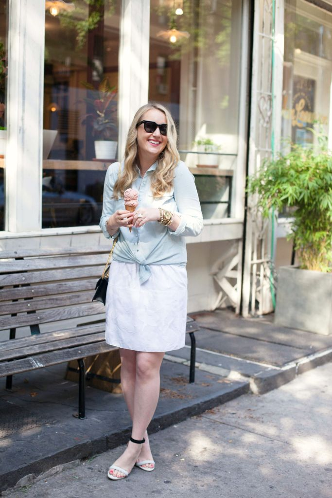 wit & whimsy I rag & bone dress I old navy chambray