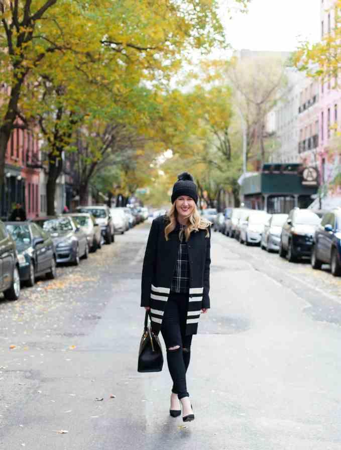 Maison Scotch Coat I Mango Plaid Top I Kate Spade Heels