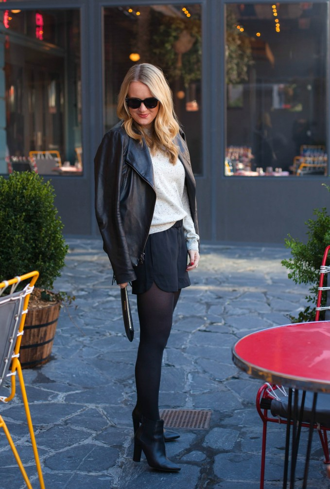Leather Jacket and Silk Shorts I wit & whimsy I Meghan Donovan