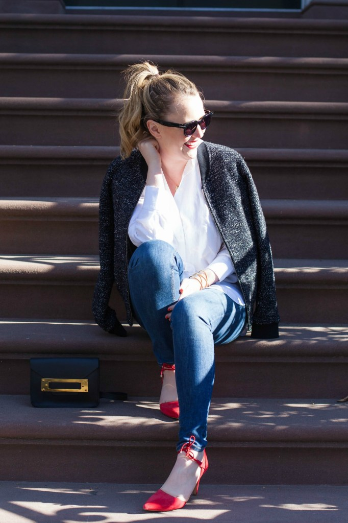Bomber Jacket + Red Shoes