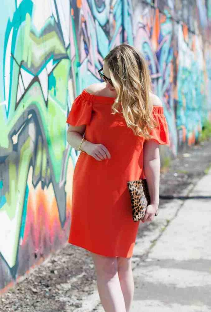 Off the Shoudler Orange Dress @meghandono