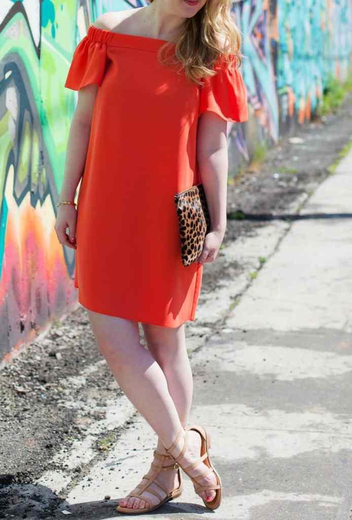 Off the Shoulder Dress + Sandals