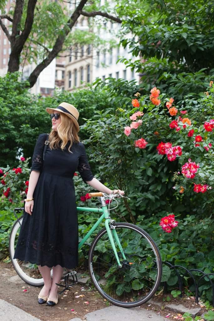 Black Midi Dress I Chanel Flats