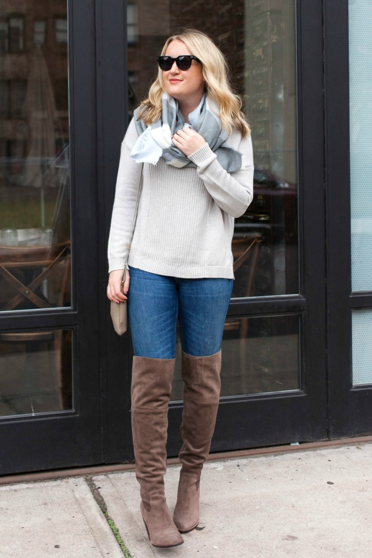 Meghan Donovan wears a Lila P. cozy knit and over the knee boots