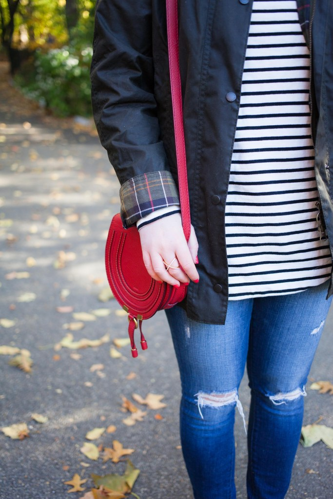 Barbour Jacket with Striped Tee and Chloe Mini Marcie Bag