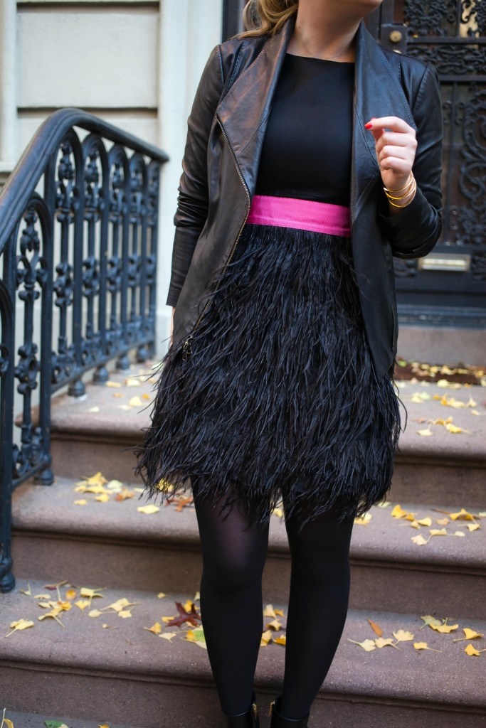 Holiday Dressing Tips I Pair a leather jacket over a feminine dress