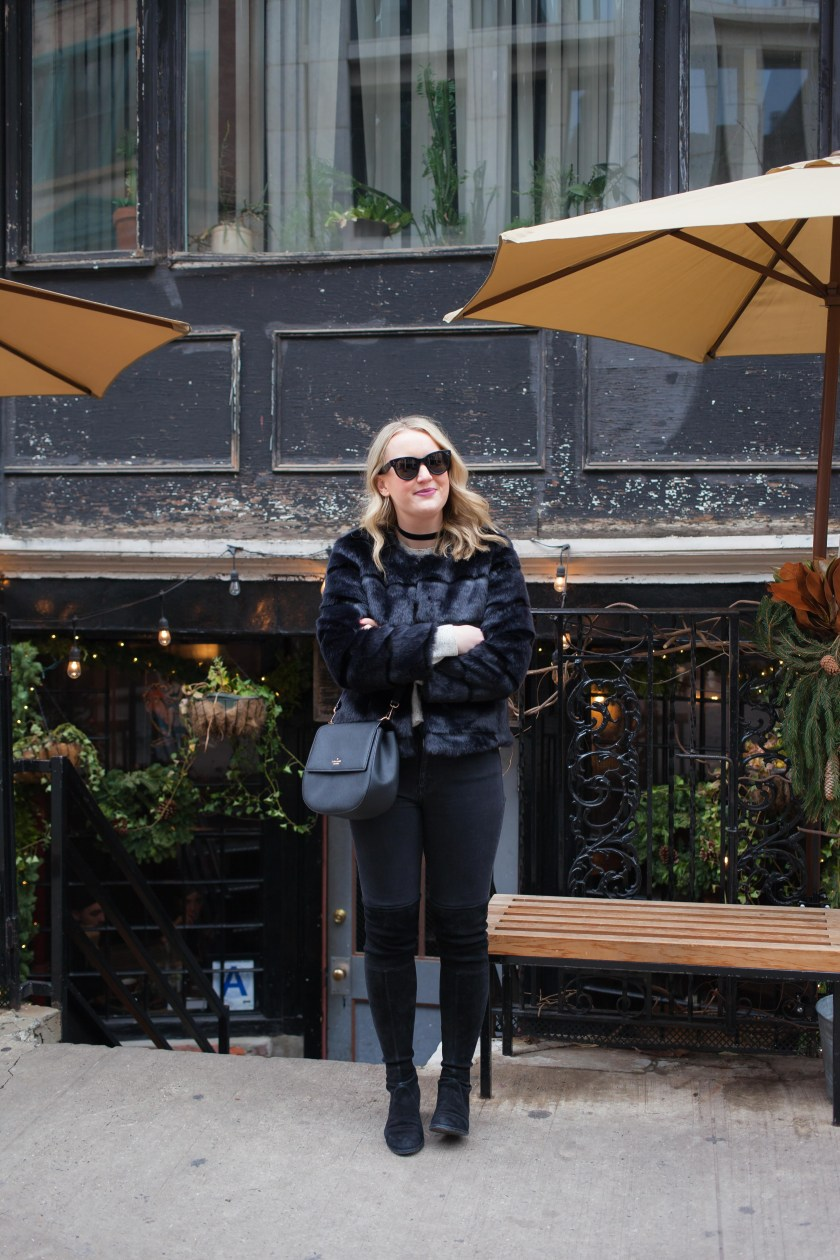 Cozy Winter Outfit in Faux Fur on blogger Meghan Donovan of wit & whimsy