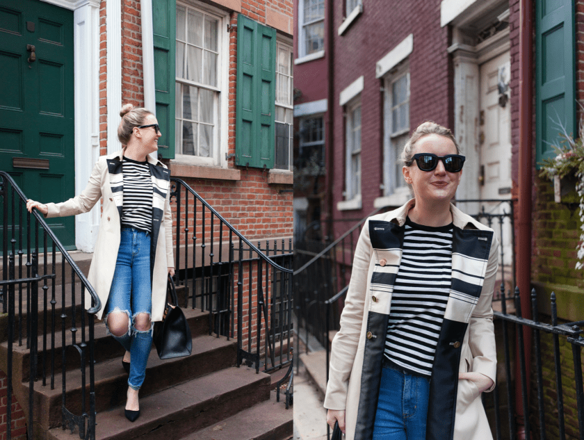 Meghan Donovan of wit & whimsy styles a trench coat
