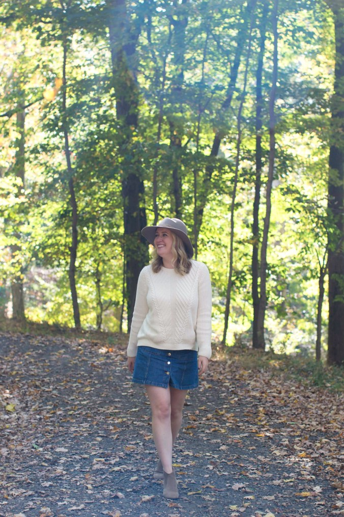 Transitional Outfit - Sweater and Denim skirt I wit & whimsy