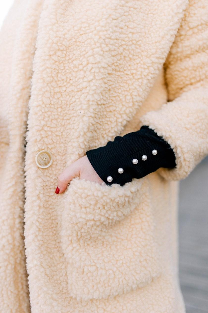 Teddy Coat + Pearl Details
