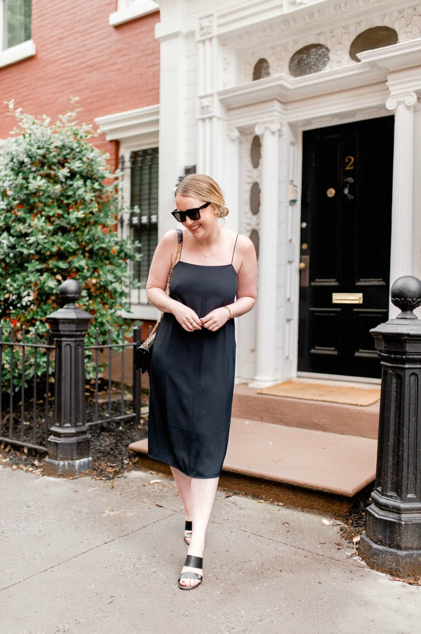 Meghan Donovan of wit & whimsy wears an Everlane Slip Dress