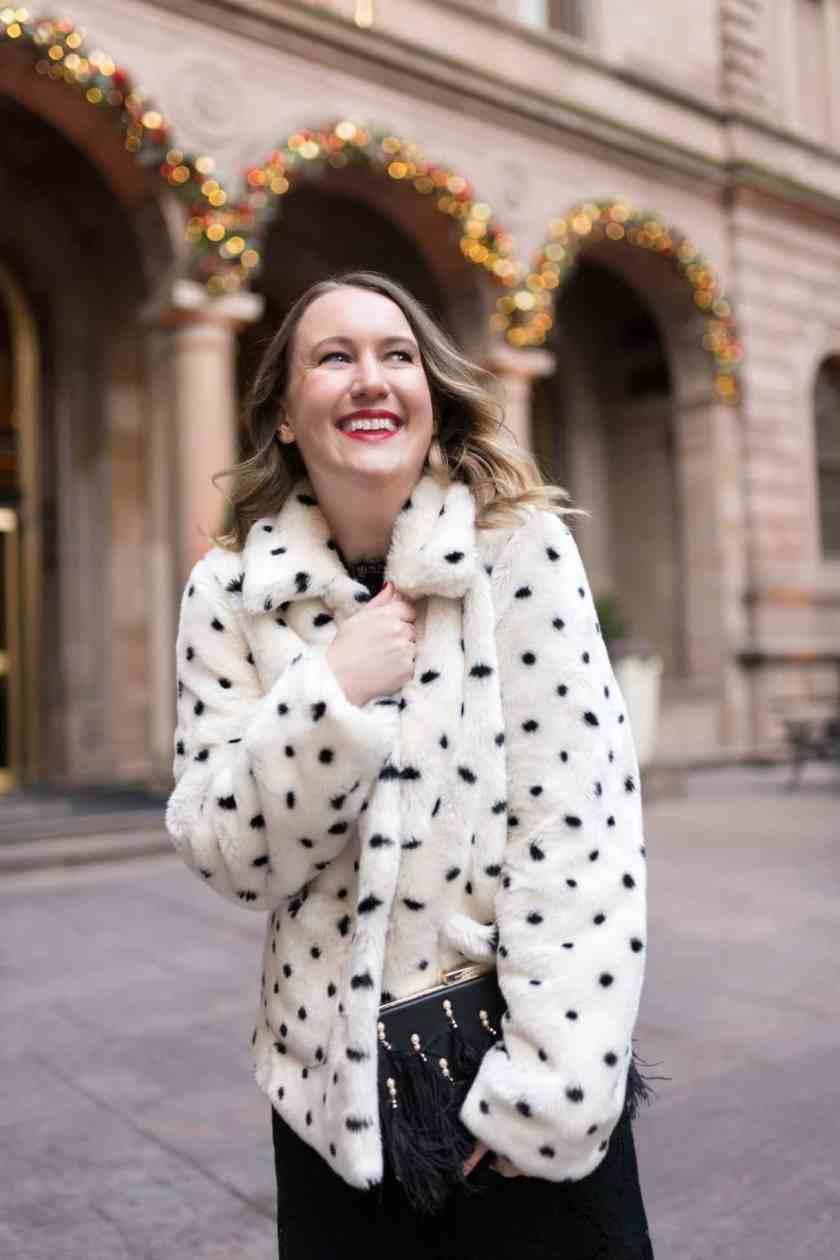 Faux Fur Polka Dot Jacket I wit & whimsy
