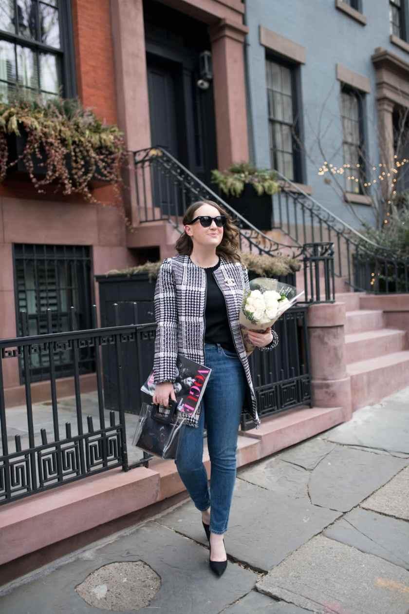 Meghan Donovan in Brooklyn Heights in a Herringbone Plaid Jacket I wit & whimsy