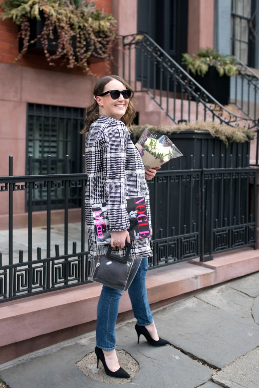 Meghan Donovan in Brooklyn Heights in a Herringbone Plaid Jacket I wit & whimsy