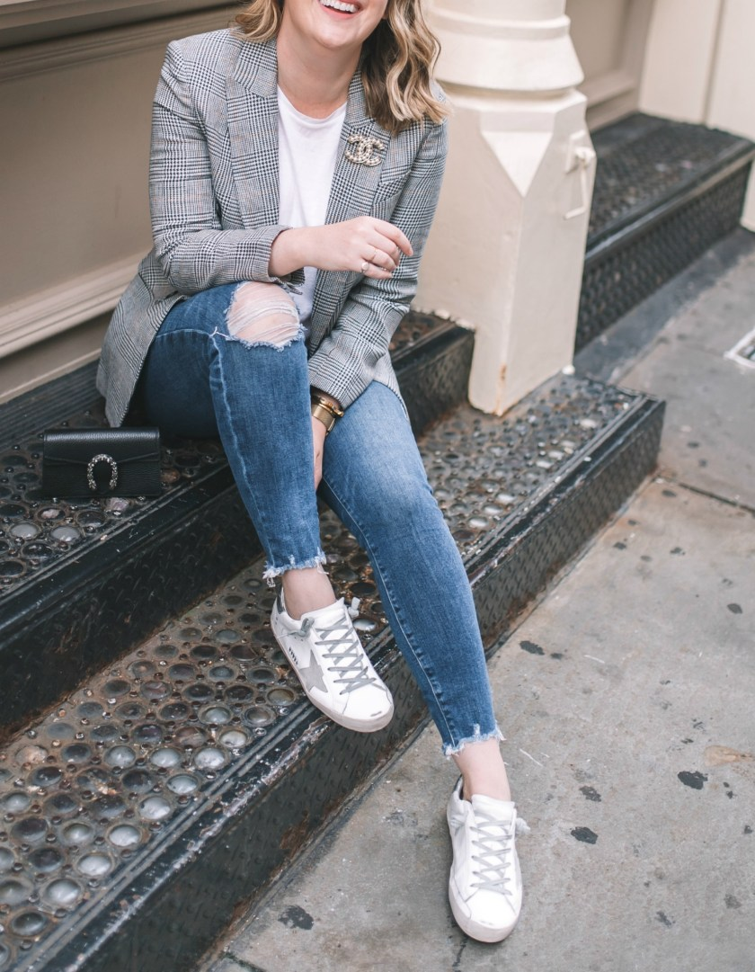 Plaid Blazer + Distressed Denim I The Best Shoes for Fall & Winter