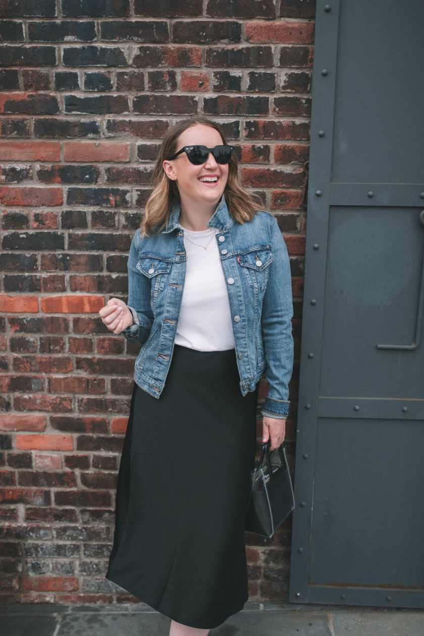 Silk Midi Skirt outfit idea
