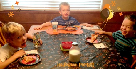 Pizza party before some trick-or-treating!