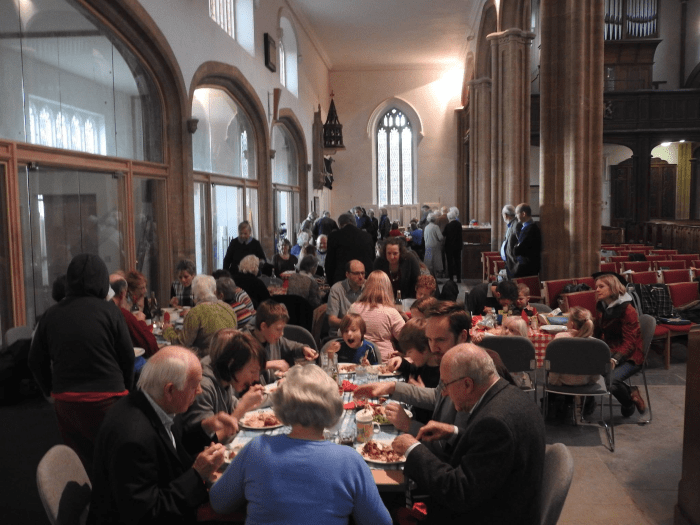 The south aisle set out for lunch served from the new kitchen