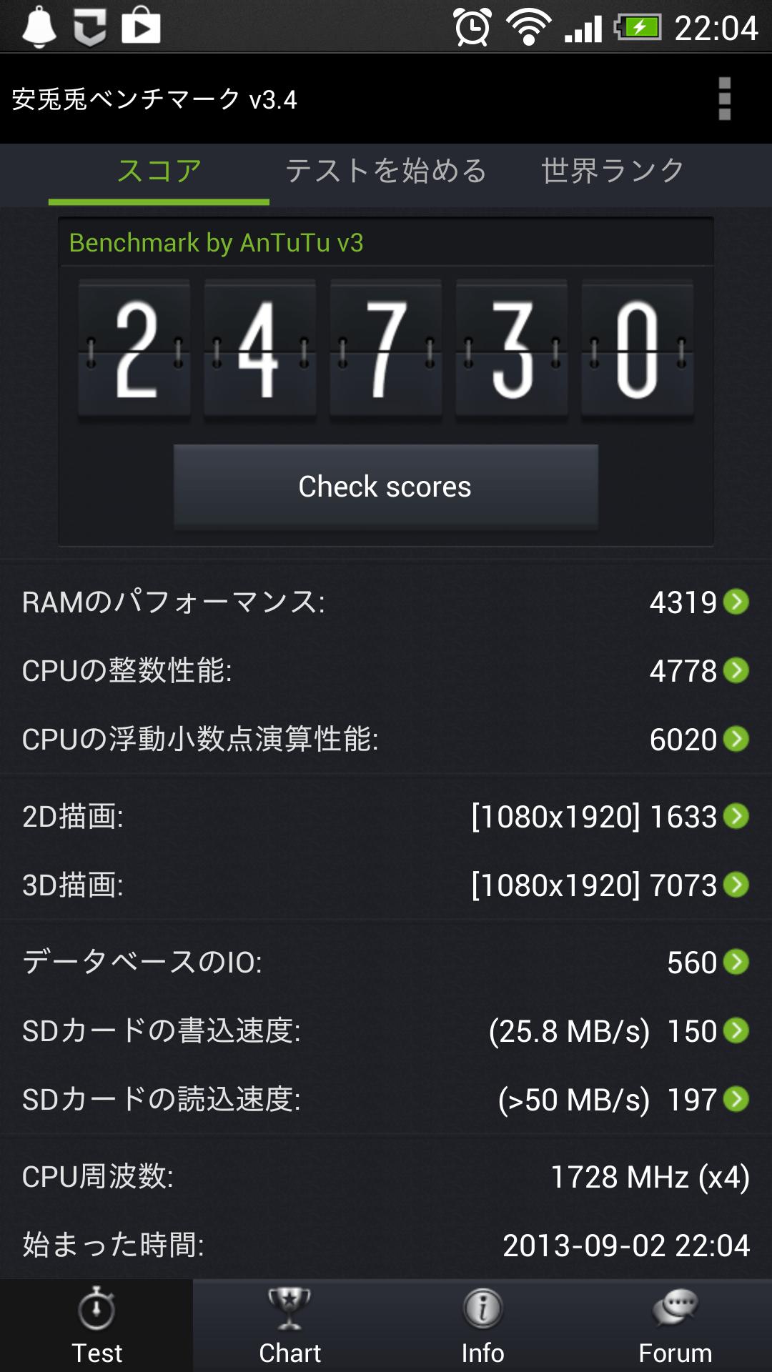 au HTC J One HTL22を購入 その2 ベンチマークなど