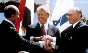 A peace at the end... Sadat, Jimmy Carter and Menachem Begin.