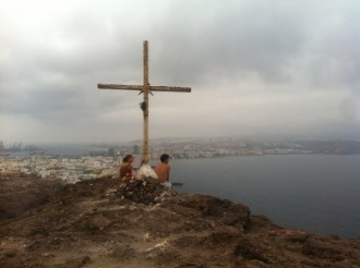 Laia and Antonio: looking down at Las Palmas
