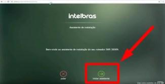 Imagem mostra a tela inicial do assistente de instalação da intelbrás