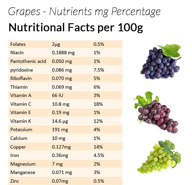 Nutrient composition of grapes
