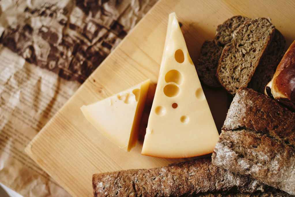 Cheese, a type of whole milk dairy product.