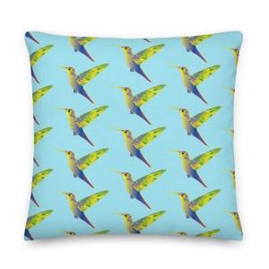 Humming Birds Cushion Light Blue