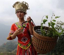 Dziewczyna z plemienia Zhuang, spotkana na polach ryżowych Longsheng pod Guilin (CHINY)