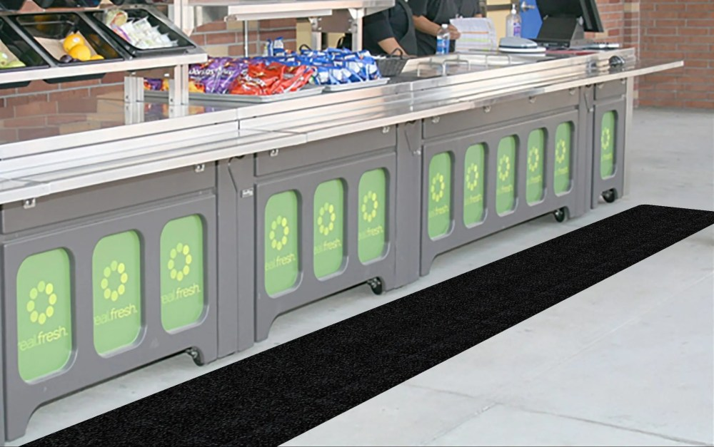 Cafeteria Food Service Line WIth WizKid Products Antimicrobial Runner Mat