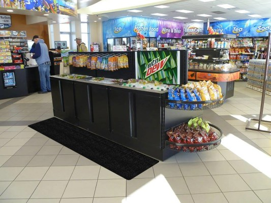 Convenience Store Cold Drink Area With WizKid Antimicrobial Runner Mat Installed