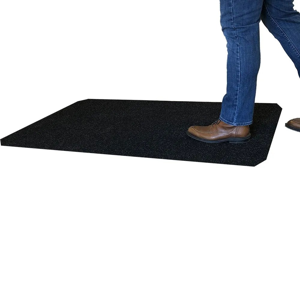 Person Stepping On the WizKid Products 3x5 Antimicrobial Runner Mat